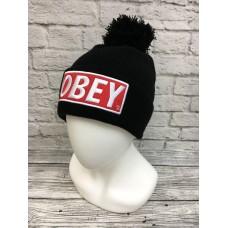 Шапка OBEY с помпоном черная арт.1073-1