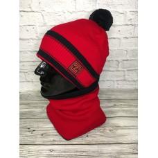 Комплект шапка и снуд мужской, красный цвет, Zetta