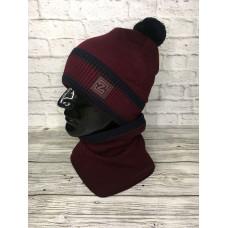 Комплект шапка и снуд мужской, бордовый цвет, Zetta