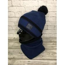 Комплект шапка и снуд мужской, синий цвет, Zetta