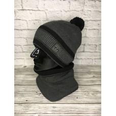 Комплект шапка и снуд мужской, серый цвет, Zetta