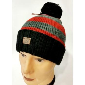 Теплая вязанная мужская шапка черного цвета Burton