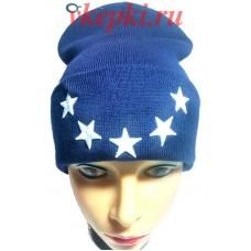 Шапка 40 oz nyc синяя со звездами арт.1596