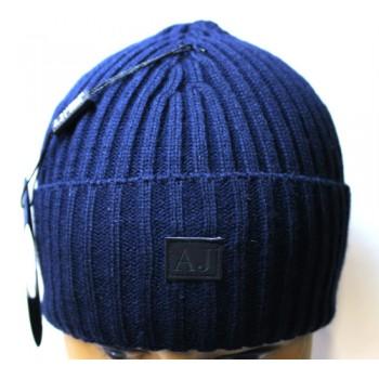 Шапка Armani Jeans с отворотом синяя арт.1157