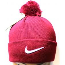 Шапка Nike с помпоном бордовая арт.1121