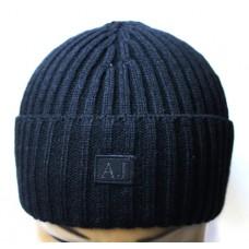 Шапка Armani Jeans с отворотом черная арт.1158